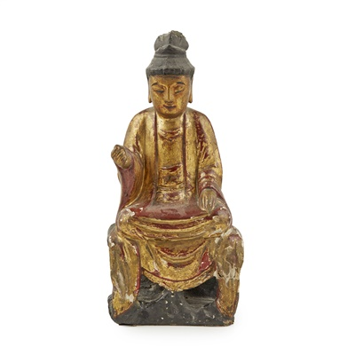 Lot 31-LACQUERED AND GILTWOOD SEATED BUDDHA