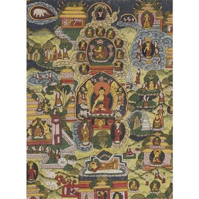 Lot 17-THANGKA DEPICTING SCENES FROM THE LIFE OF BUDDHA SHAKYAMUNI