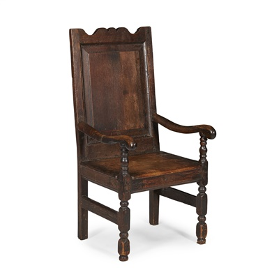 Lot 7-CHARLES II OAK ARMCHAIR