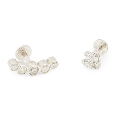 Lot 16-Two diamond set studs