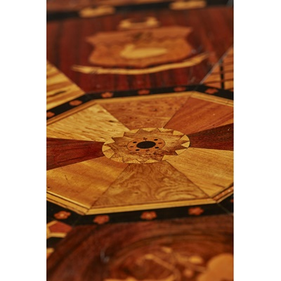 Lot 250 - JAMAICAN MARQUETRY AND PARQUETRY OCCASIONAL TABLE, ATTRIBUTED TO THE WORKSHOP OF RALPH TURNBULL
