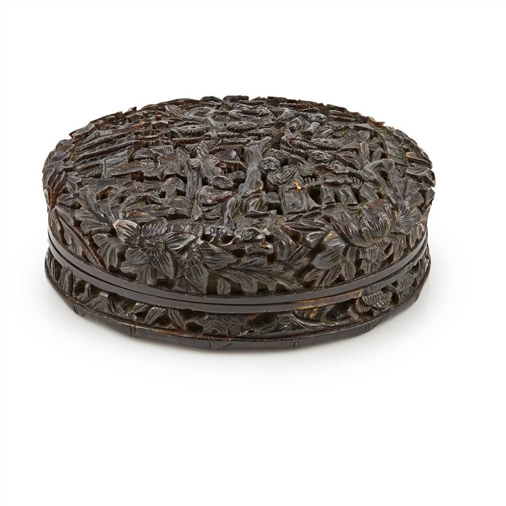 Lot 3-CARVED TORTOISESHELL CIRCULAR BOX AND COVER