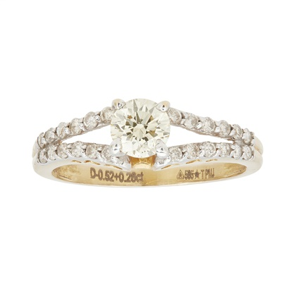 Lot 8-A yellow diamond and colourless diamond ring