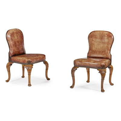 Lot 30-SET OF EIGHT GEORGE II STYLE WALNUT AND LEATHER DINING CHAIRS