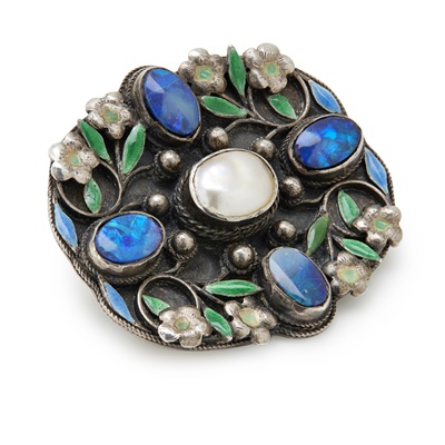 Lot 46 - An Arts and Crafts opal, mother-of-pearl and enamel brooch, attributed to Arthur and Georgie Gaskin, circa 1912