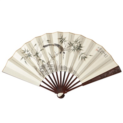 Lot 17-PAINTED FAN WITH HUANGHUALI GUARDS