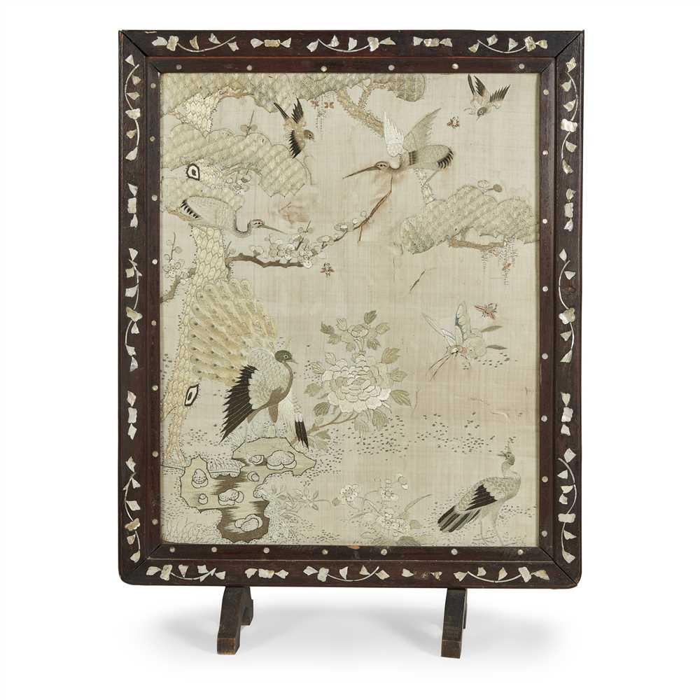 Lot 18 - EMBROIDERED SILK 'HUNDRED BIRDS' PANEL
