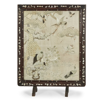 Lot 18-EMBROIDERED SILK 'HUNDRED BIRDS' PANEL