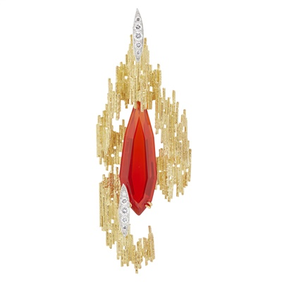 Lot 58 - A fire opal and diamond set pendant/brooch, Andrew Grima for H. J. Company