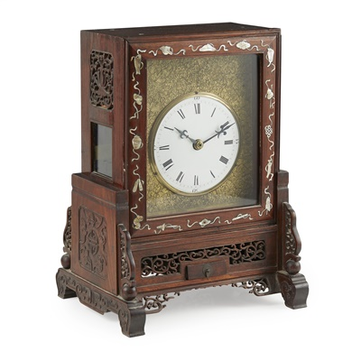Lot 6-HARDWOOD AND MOTHER-OF-PEARL INLAID TABLE CLOCK