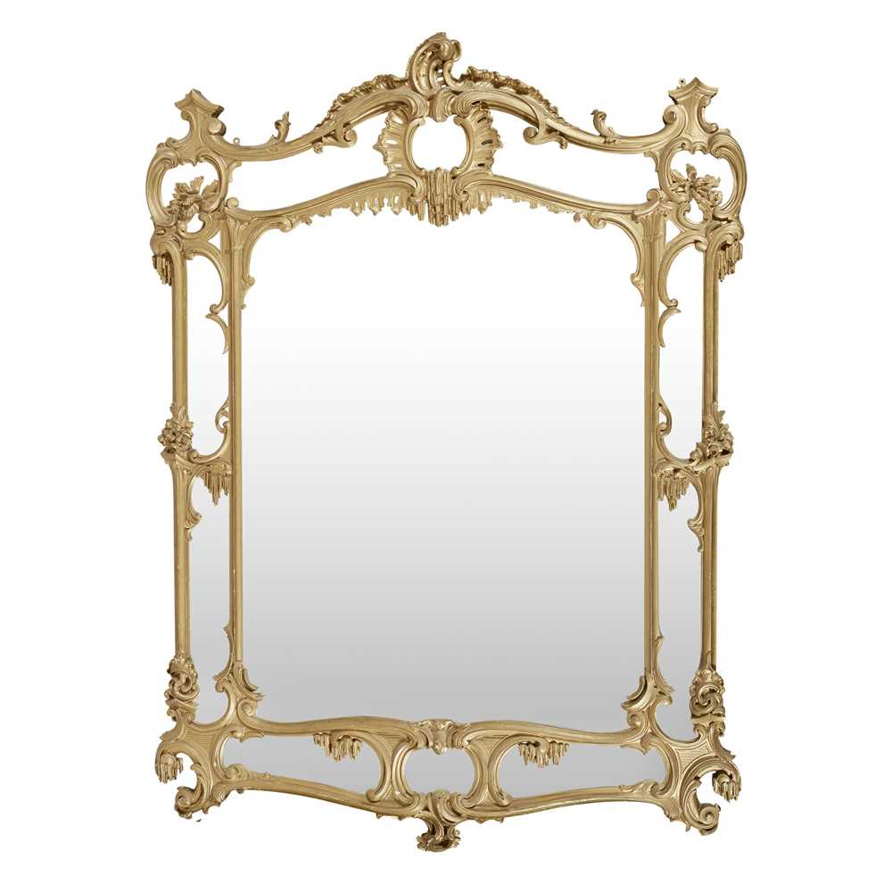 Lot 35-LARGE GEORGIAN STYLE GILTWOOD OVERMANTEL MIRROR