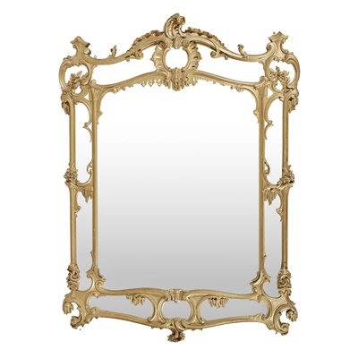Lot 35 - LARGE GEORGIAN STYLE GILTWOOD OVERMANTEL MIRROR