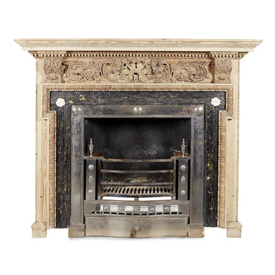 Lot 36-GEORGE III STRIPPED PINE AND MARBLE FIRE SURROUND AND POLISHED STEEL REGISTER GRATE