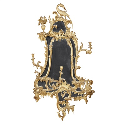 Lot 59-GEORGE III STYLE GILTWOOD GIRONDOLE MIRROR, AFTER A DESIGN BY THOMAS CHIPPENDALE