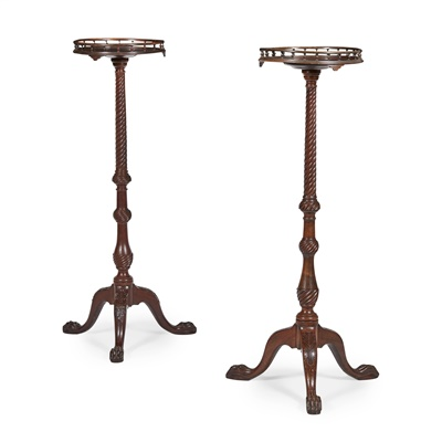 Lot 32 - PAIR OF GEORGE II STYLE MAHOGANY TORCHERE STANDS