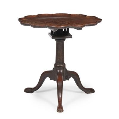 Lot 33-GEORGE II MAHOGANY BIRDCAGE TEA TABLE