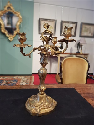 Lot 430-PAIR OF LOUIS XV AND LATER GILT BRONZE THREE-LIGHT CANDELABRA