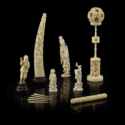 Lot 28-GROUP OF VARIOUS IVORY OBJECTS