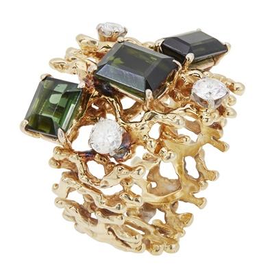 Lot 65 - A 1960s/1970s tourmaline and diamond set ring