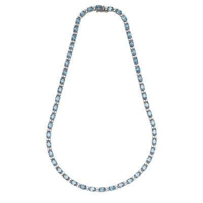 Lot 100 - A topaz and diamond set line necklace