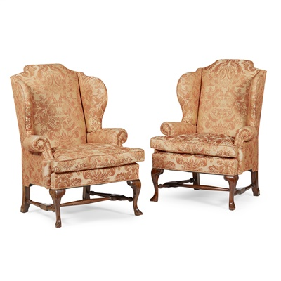 Lot 42-PAIR OF GEORGE I STYLE MAHOGANY WING ARMCHAIRS