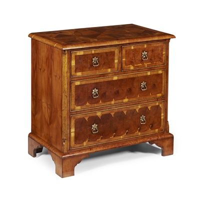 Lot 19-QUEEN ANNE STYLE OYSTER VENEERED CHEST OF DRAWERS