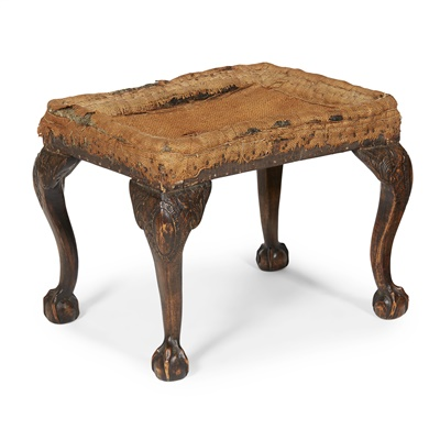 Lot 24-GEORGE II STAINED BEECH STOOL