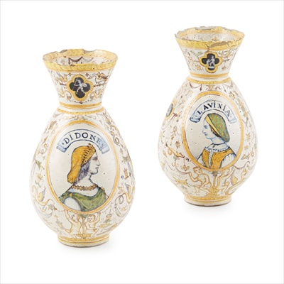 Lot 3-PAIR OF MAIOLICA VASES
