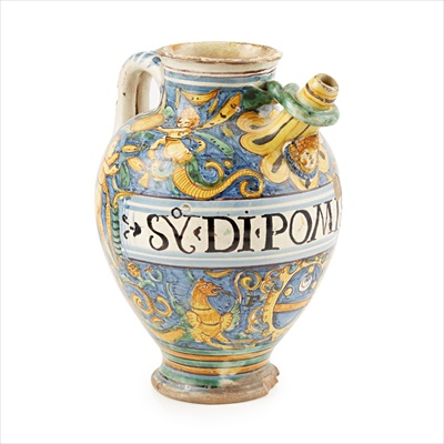 Lot 2-ITALIAN MAIOLICA HANDLED SPOUTED DRUG JAR