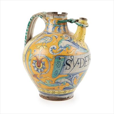 Lot 1-UNRECORDED ITALIAN MAIOLICA HANDLED SPOUTED DRUG JAR