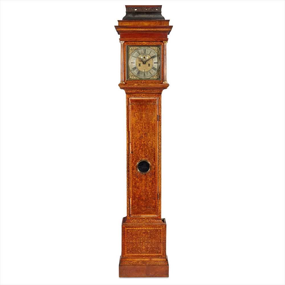 Lot 12-QUEEN ANNE SEAWEED MARQUETRY LONGCASE CLOCK, JASPER TAYOR, LONDON