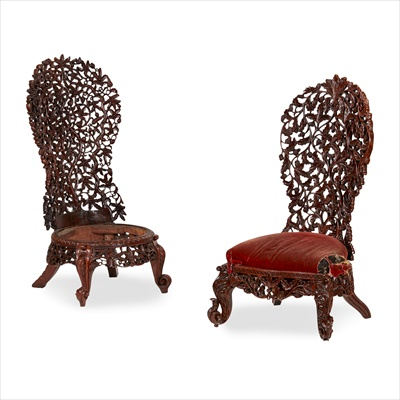 Lot 13-TWO CEYLONESE CARVED HARDWOOD SIDE CHAIRS