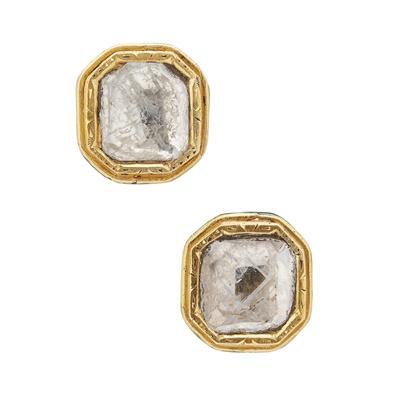 Lot 122 - A pair of Indian diamond set earrings