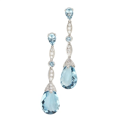 Lot 102 - A pair of aquamarine and diamond set pendant earrings