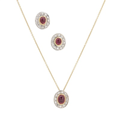 Lot 51 - A ruby and diamond set cluster pendant and a pair of earrings