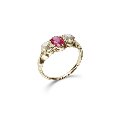 Lot 37-A ruby and diamond three-stone ring