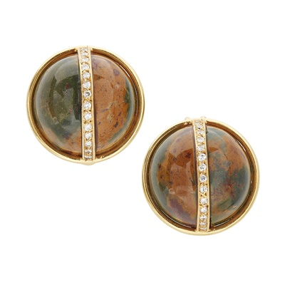 Lot 48 - A pair of jasper and diamond set earrings