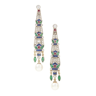 Lot 75 - A pair of French multi-gem set earrings