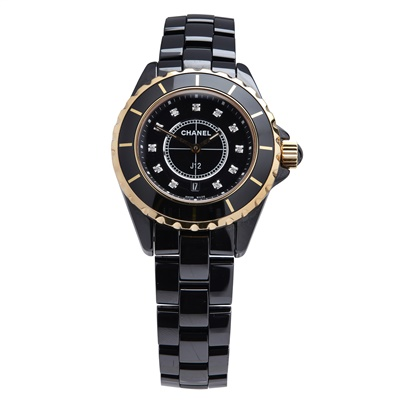 Lot 150 - A diamond set rose gold and ceramic wristwatch, Chanel