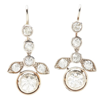 Lot 7-A pair of diamond pendant earrings