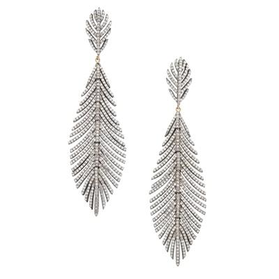 Lot 29-A pair of diamond set pendant earrings
