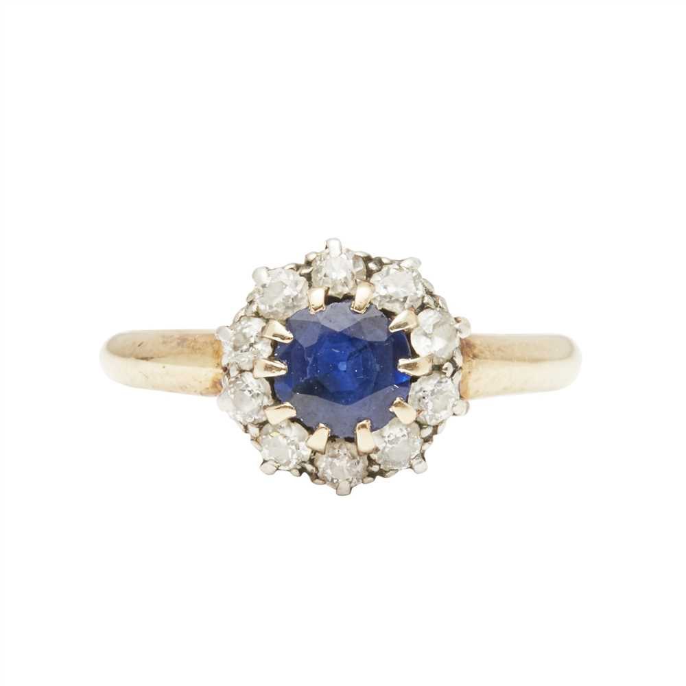 Lot 5-A sapphire and diamond set cluster ring