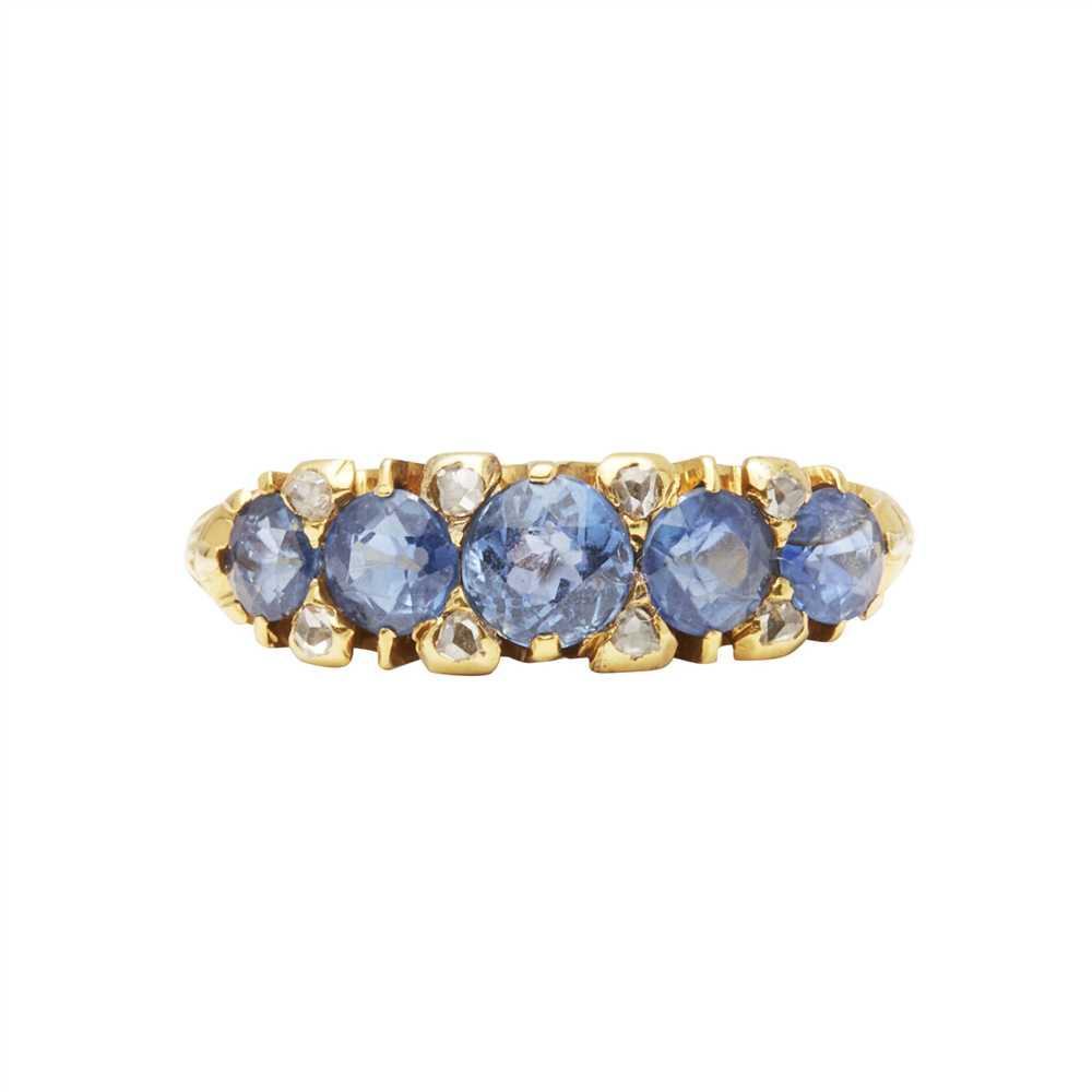 Lot 6-A sapphire and diamond set five stone ring