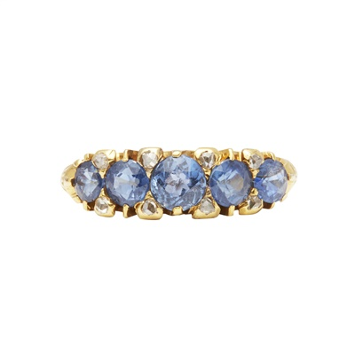 Lot 6-A sapphire and diamond set five stone ring