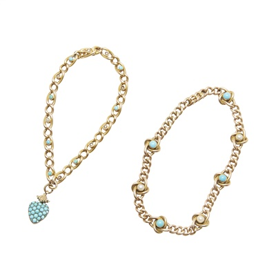 Lot 28-Two pearl and turquoise set bracelets