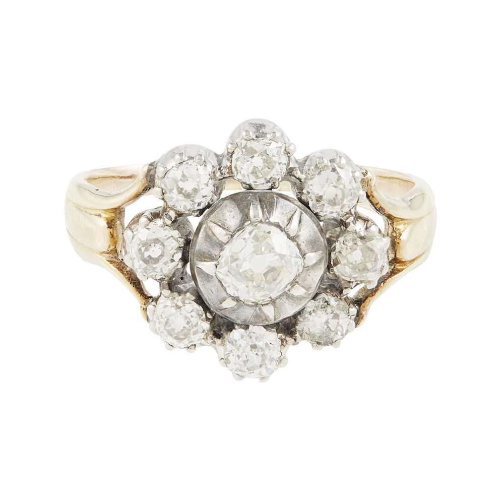 Lot 9-A diamond set cluster ring