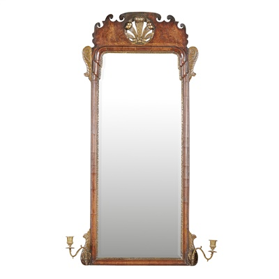 Lot 22-GEORGE II WALNUT AND PARCEL GILT GIRONDOLE MIRROR