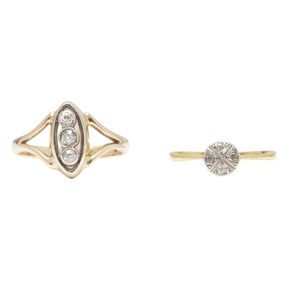 Lot 13-A three stone diamond set ring