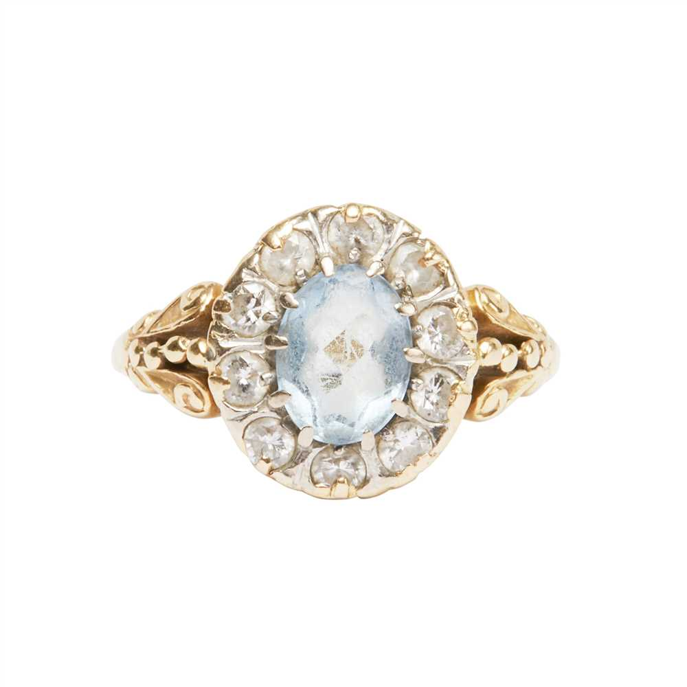 Lot 7-An aquamarine and diamond set cluster ring