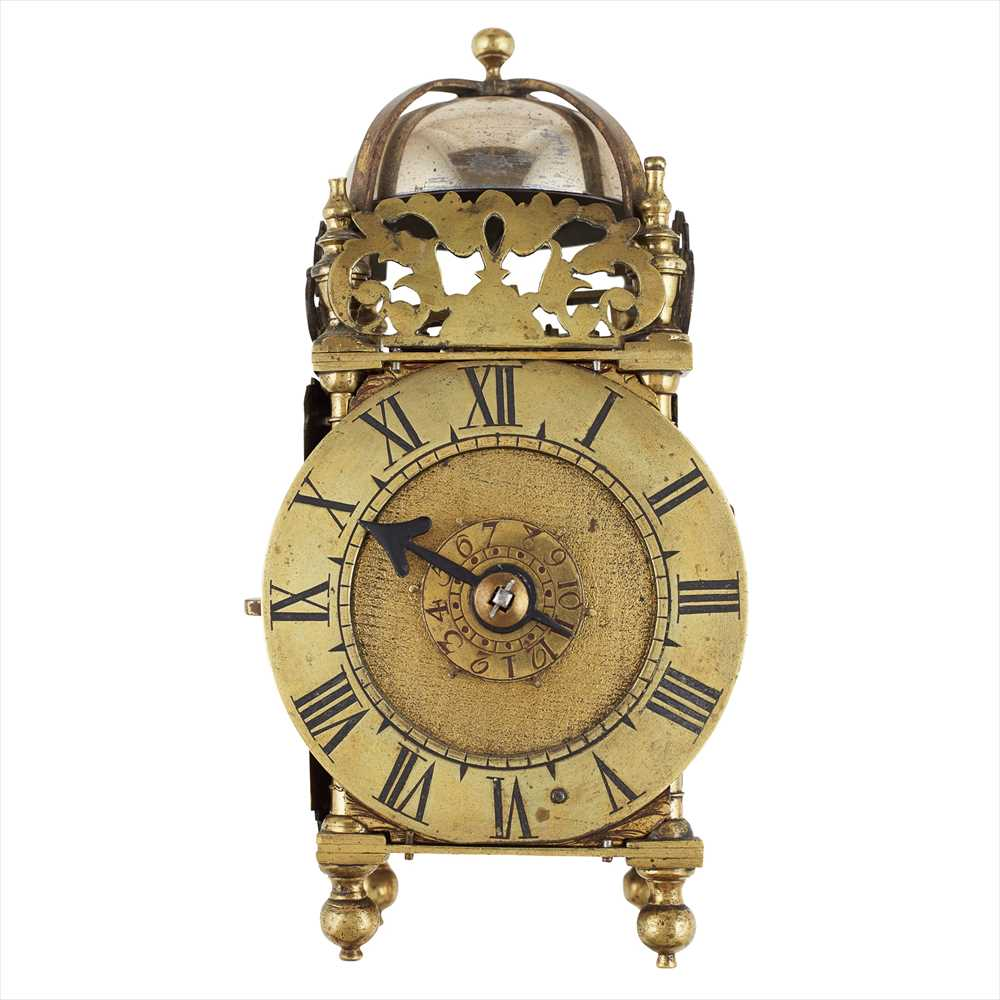 Lot 24-MINIATURE BRASS CASED LANTERN CLOCK